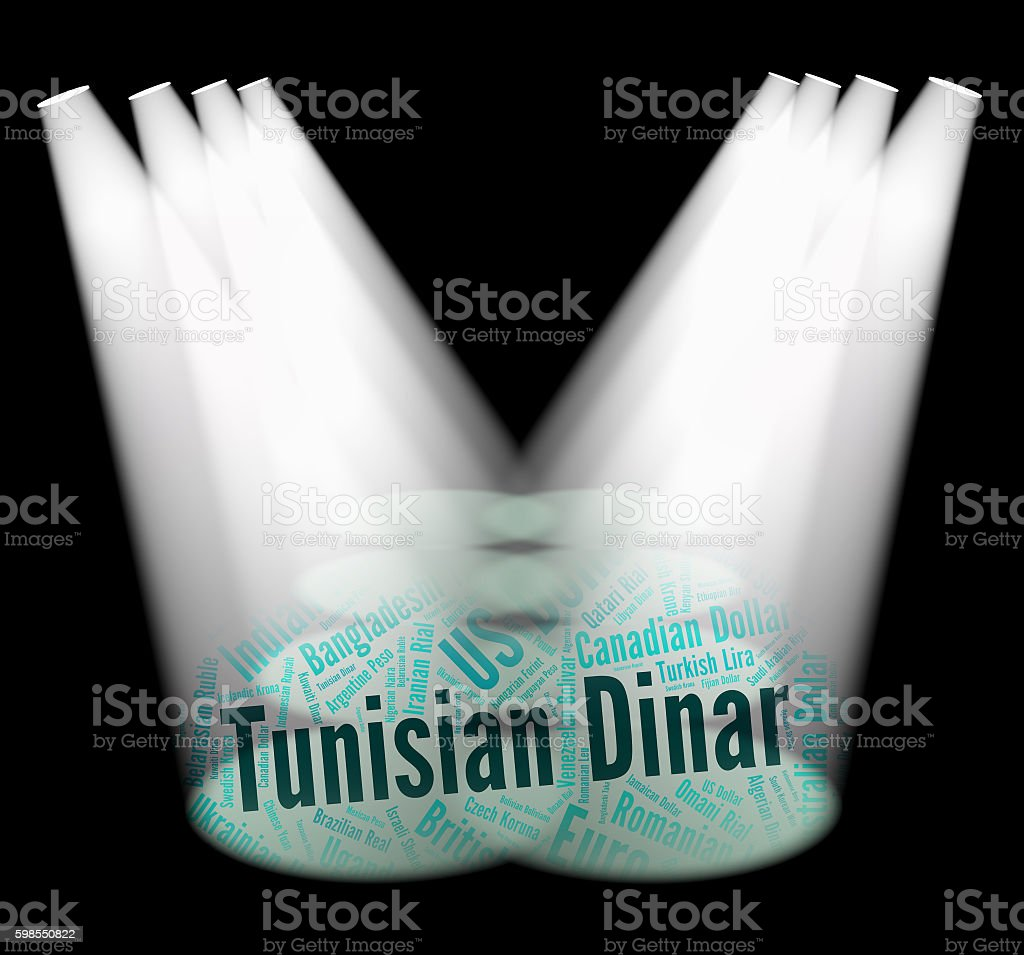 Tunisian Dinar Indicates Exchange Rate And Banknotes stock photo