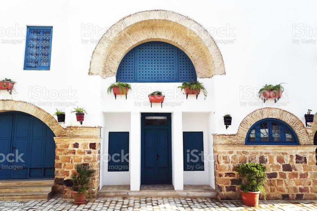 Tunisian eastern courtyard houses stock photo
