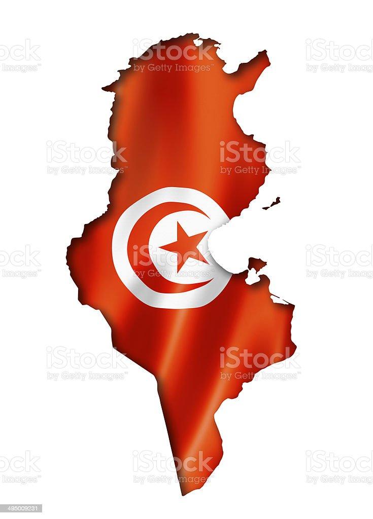 Tunisian flag map stock photo