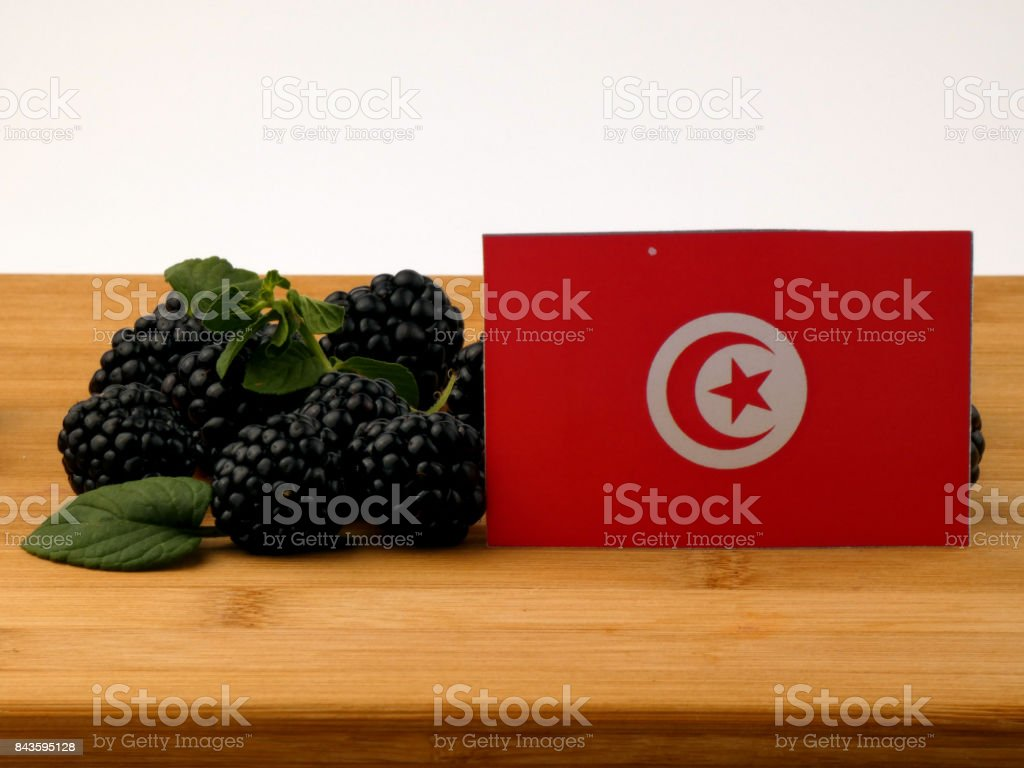 Tunisian flag on a wooden panel with blackberries isolated on a white background stock photo