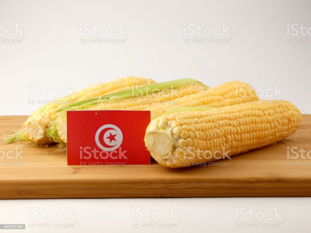 Tunisian flag on a wooden panel with corn isolated on a white background stock photo