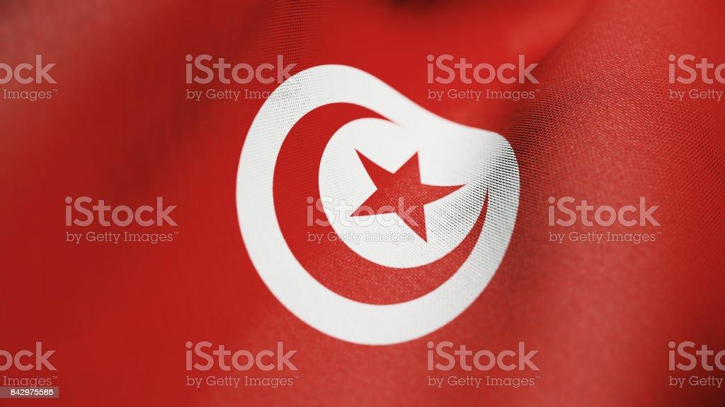 Tunisian Flag, Tunisia Flag Realistic 3D Illustration stock photo