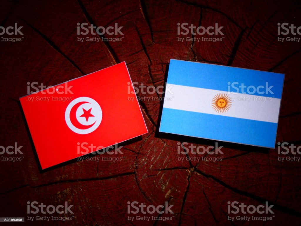 Tunisian flag with Argentinian flag on a tree stump isolated stock photo