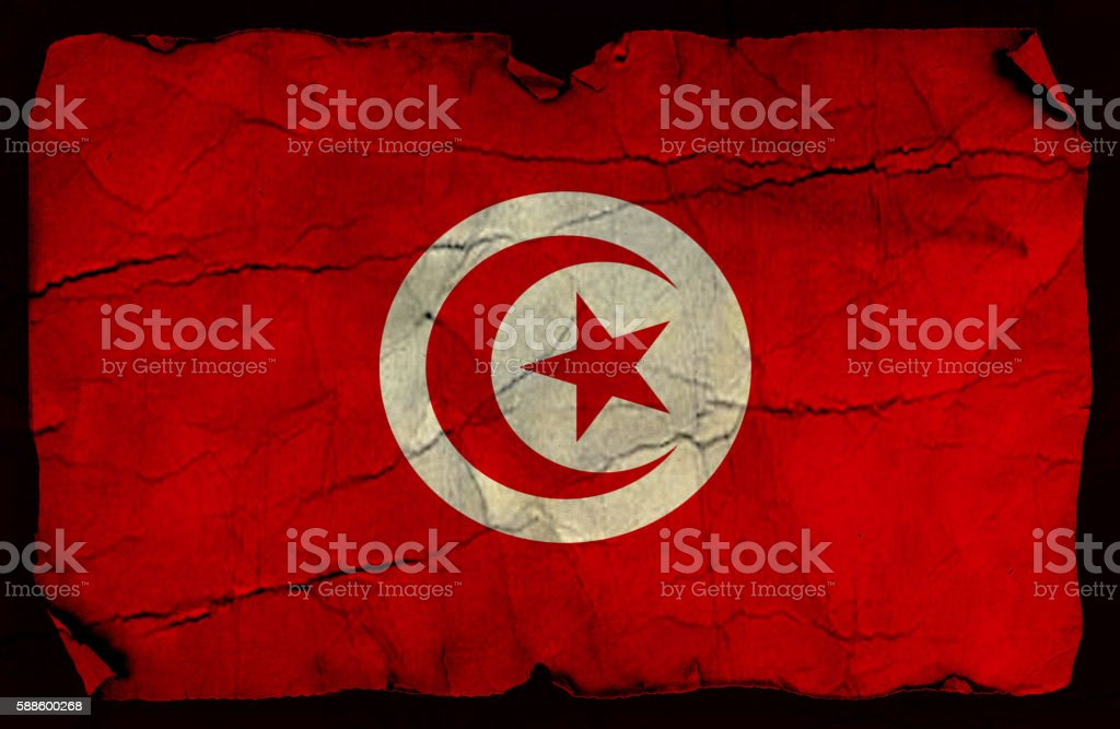 Tunisian grunge flag stock photo