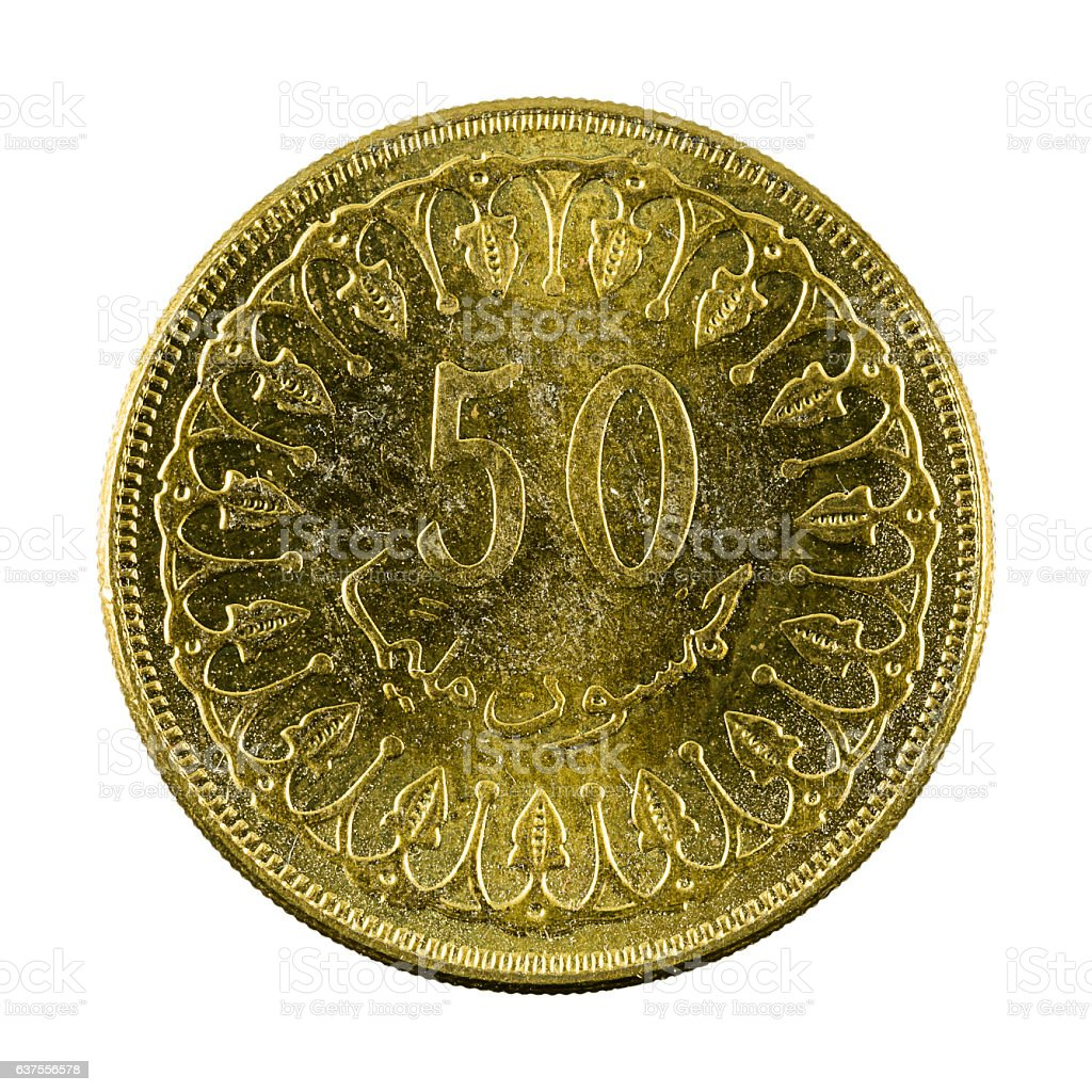50 tunisian millimes coin (2013) isolated on white background stock photo