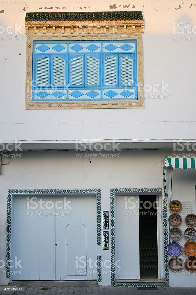 Tunisian wall at sunset stock photo