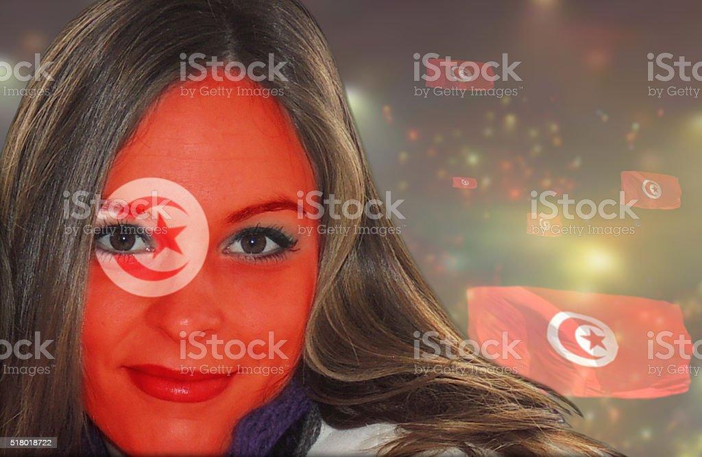 Tunisian women fan patriot stock photo
