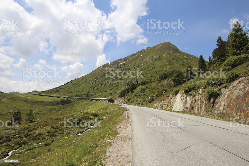 Tunnel and Road in the Alpine Mountains, Sellraintal, Tyrol, Austria royalty-free stock photo