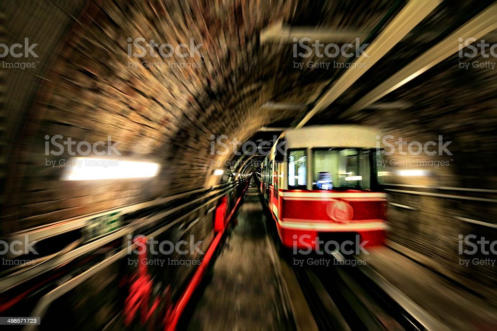 Tunnel and train stock photo