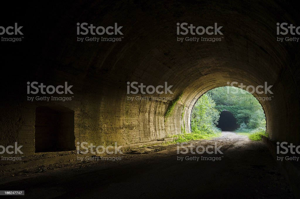 Tunnel at sunset stock photo