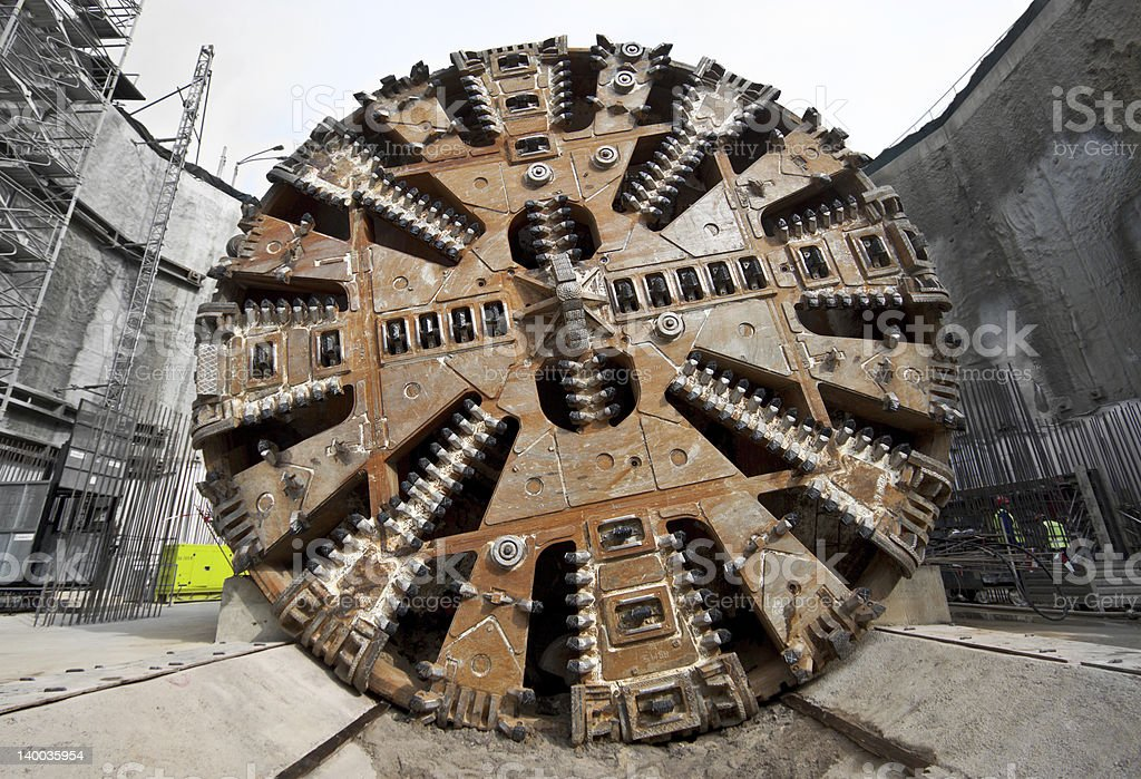 Tunnel boring machine head stock photo