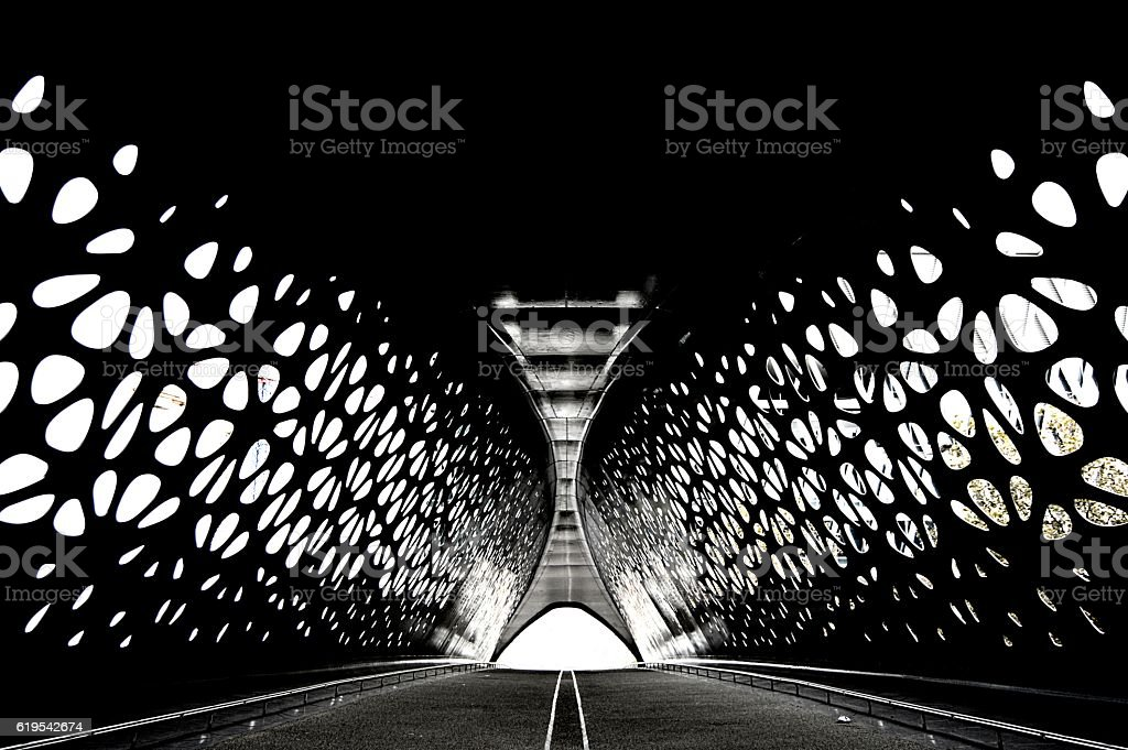 Tunnel bridge with perfect symmetry stock photo