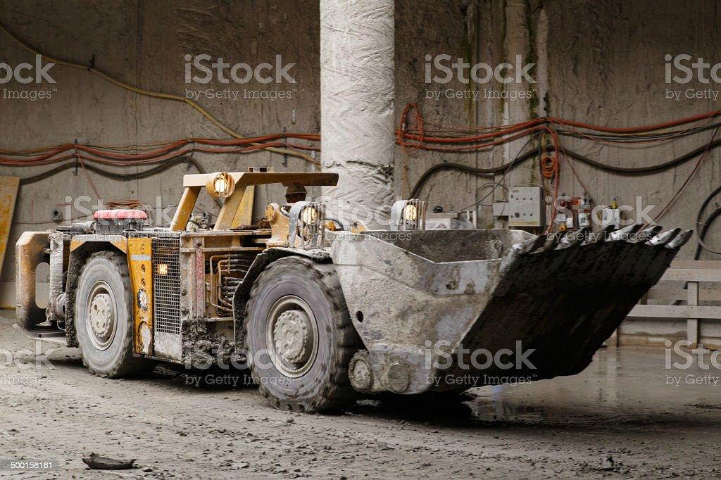 Tunnel construction dump truck stock photo