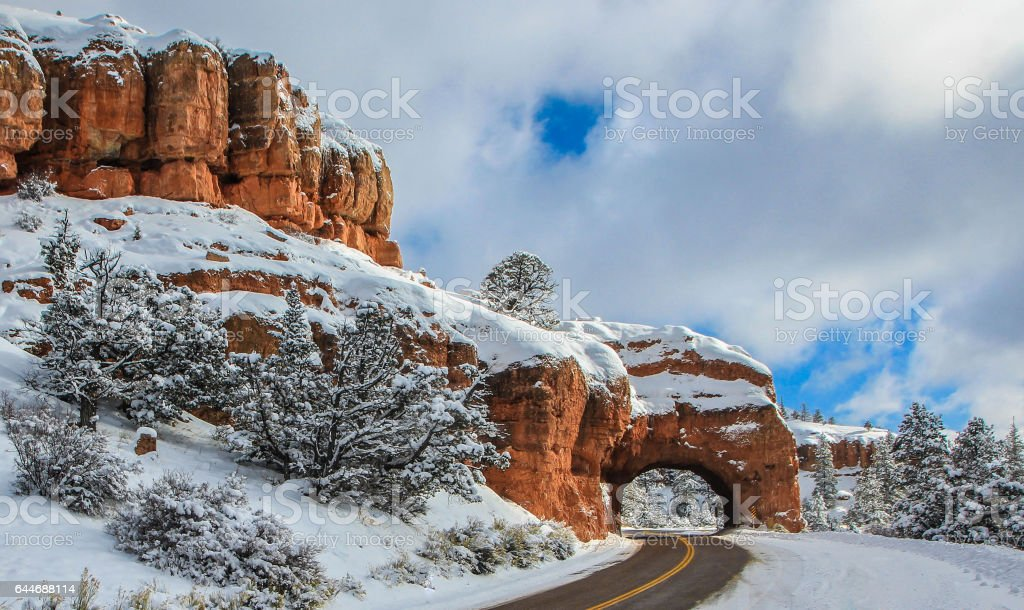 Tunnel entrance in the winter stock photo