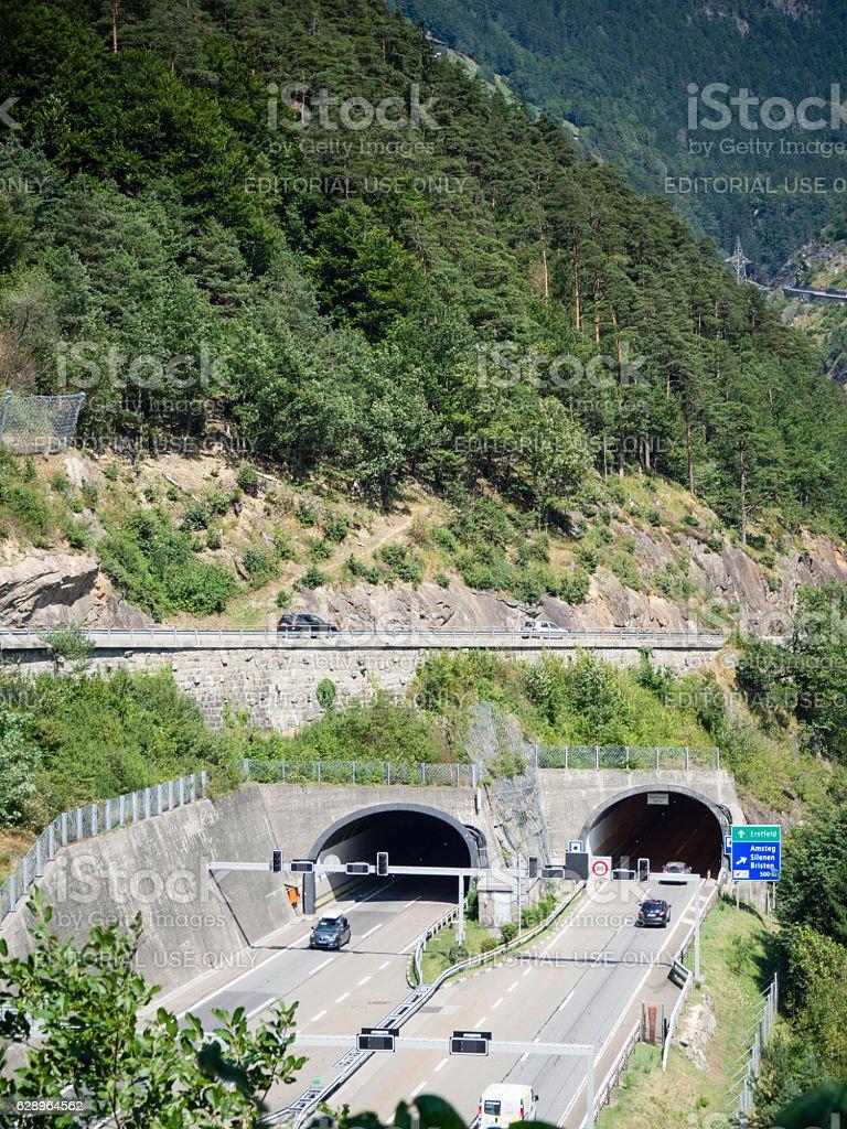 Tunnel entrance on Swiss Gotthard highway stock photo