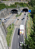 Tunnel entrance on Swiss Gotthard highway