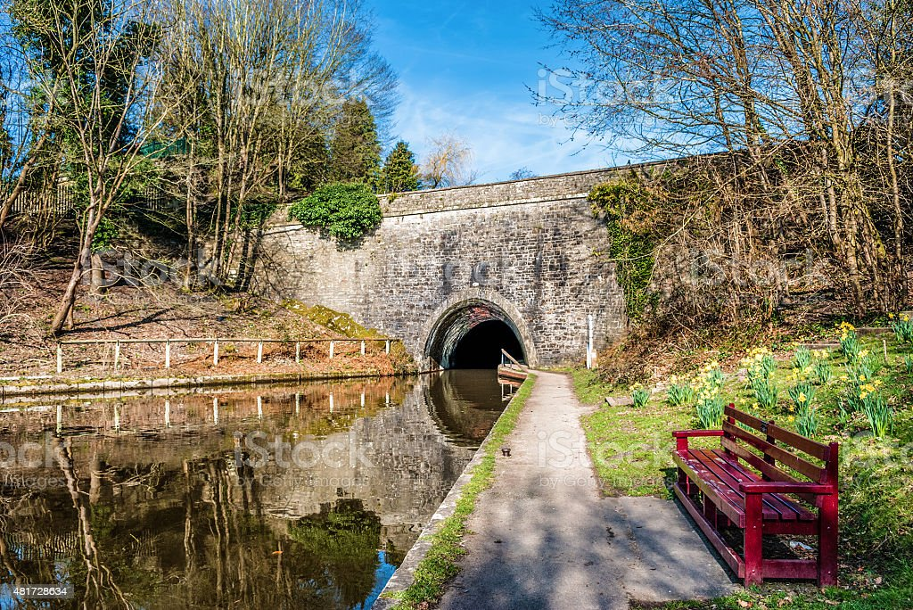 Tunnel entrance on The Llangollen canal in Wales stock photo