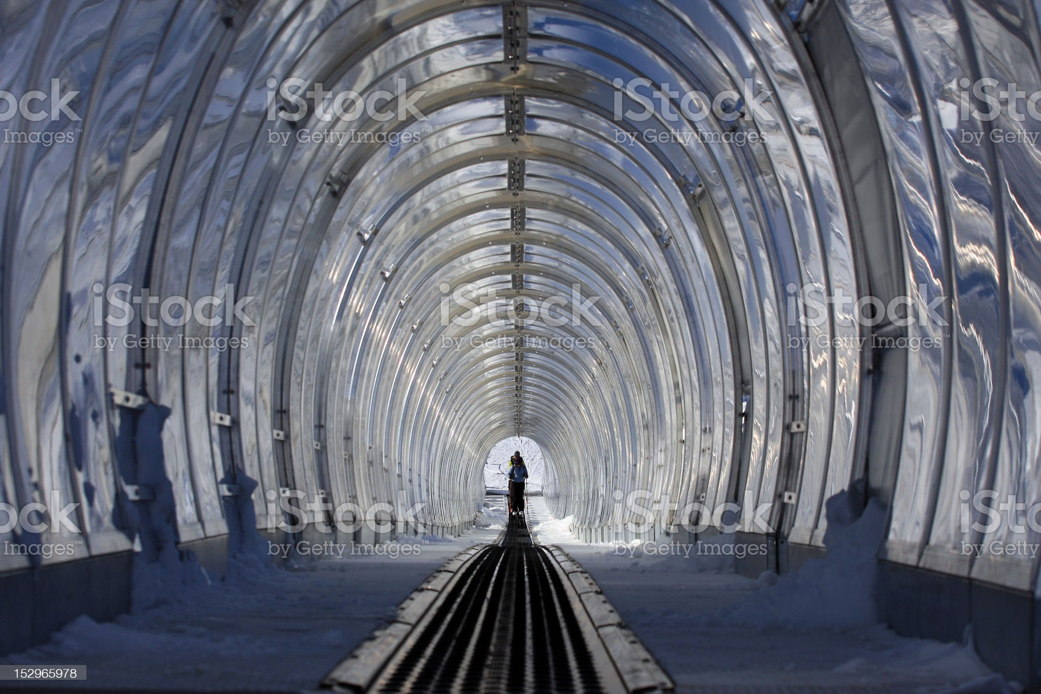 tunnel for skiing royalty-free stock photo