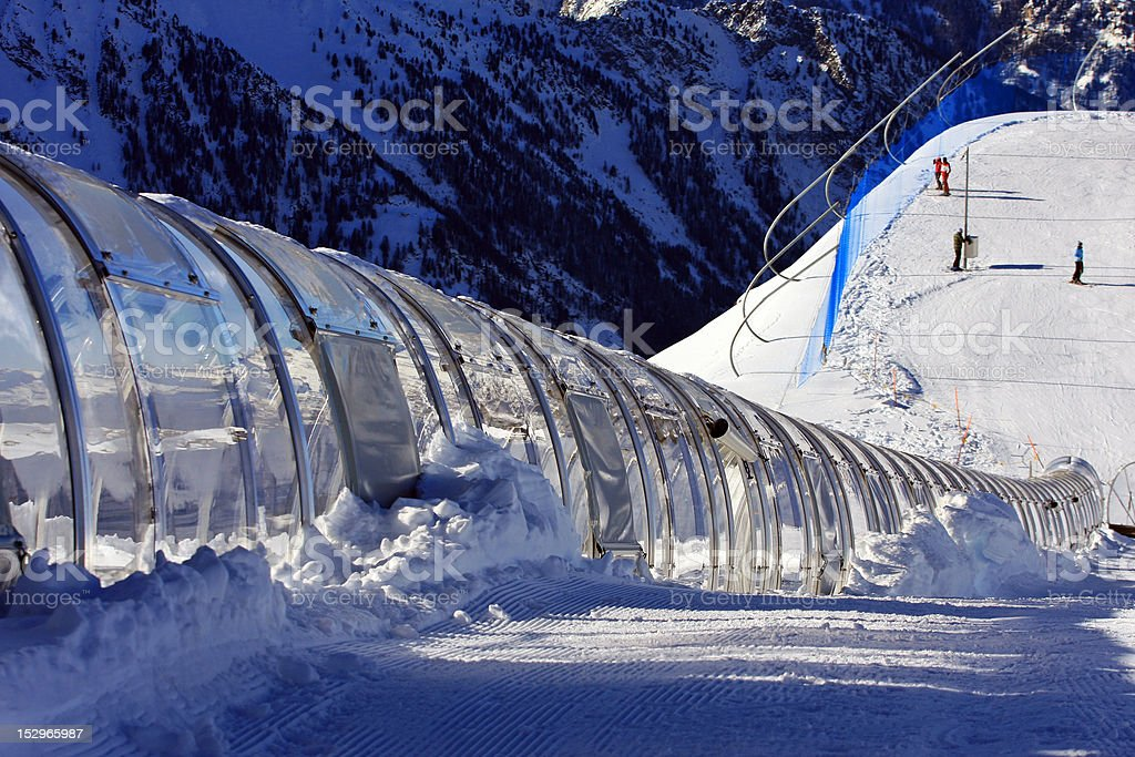 tunnel for skiing stock photo
