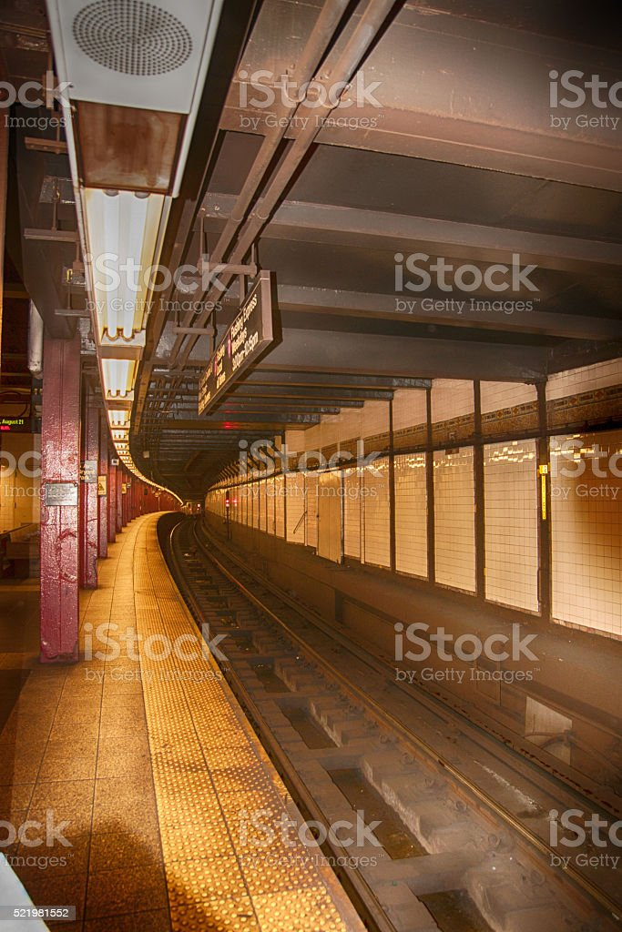 Tunnel in New York subway stock photo