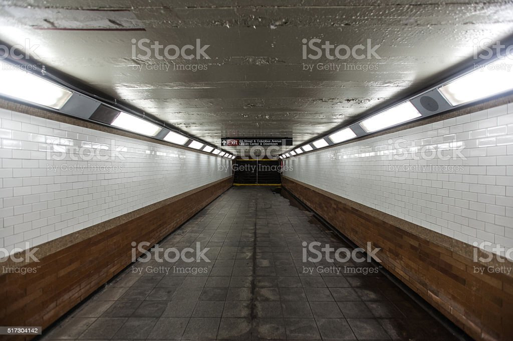 Tunnel in New York subway station stock photo