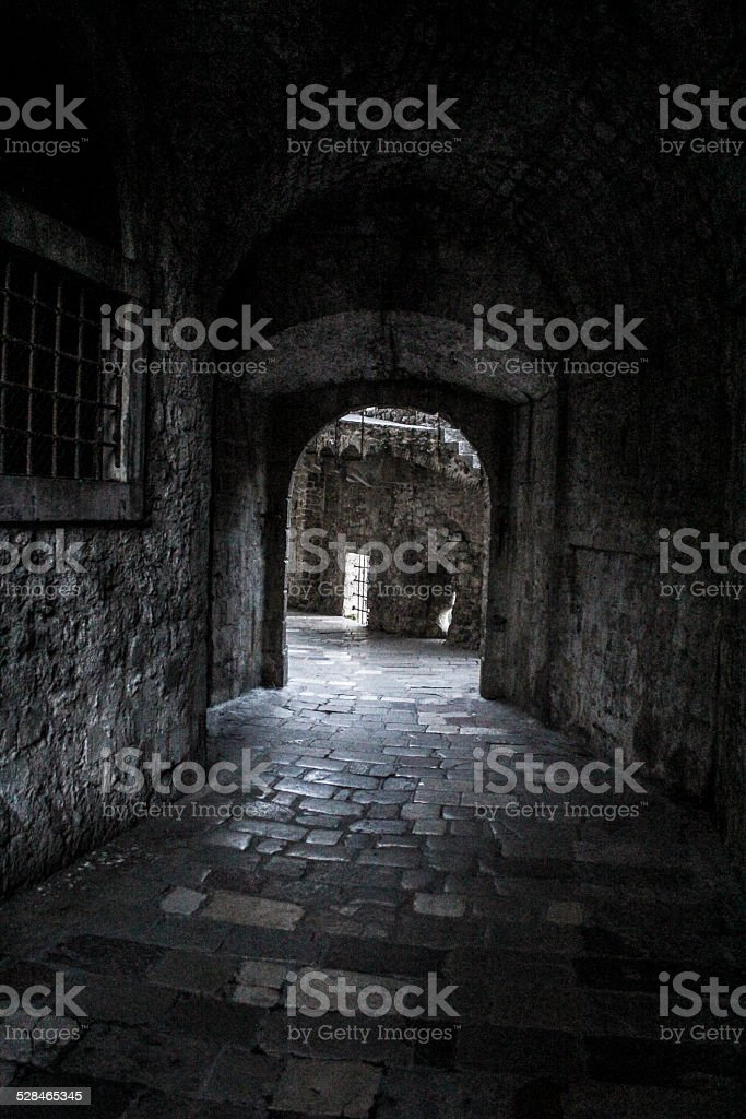 Tunnel in old fortress stock photo
