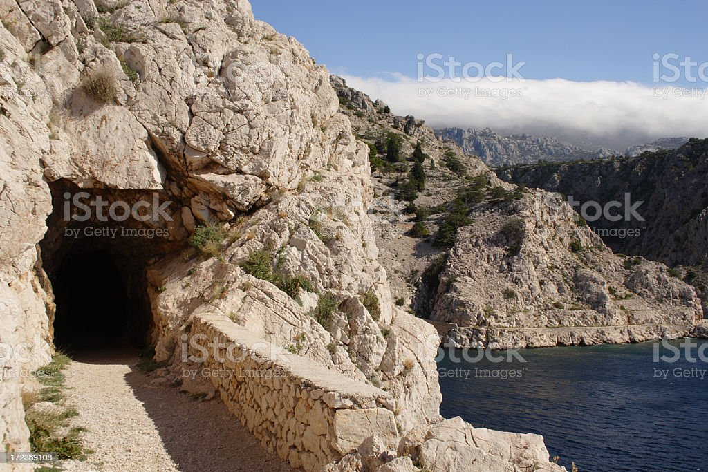 tunnel in rocks royalty-free stock photo