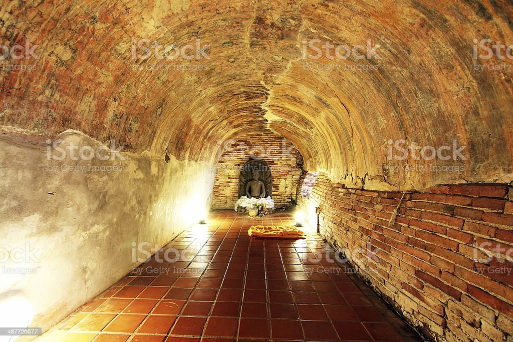 Tunnel in temple stock photo