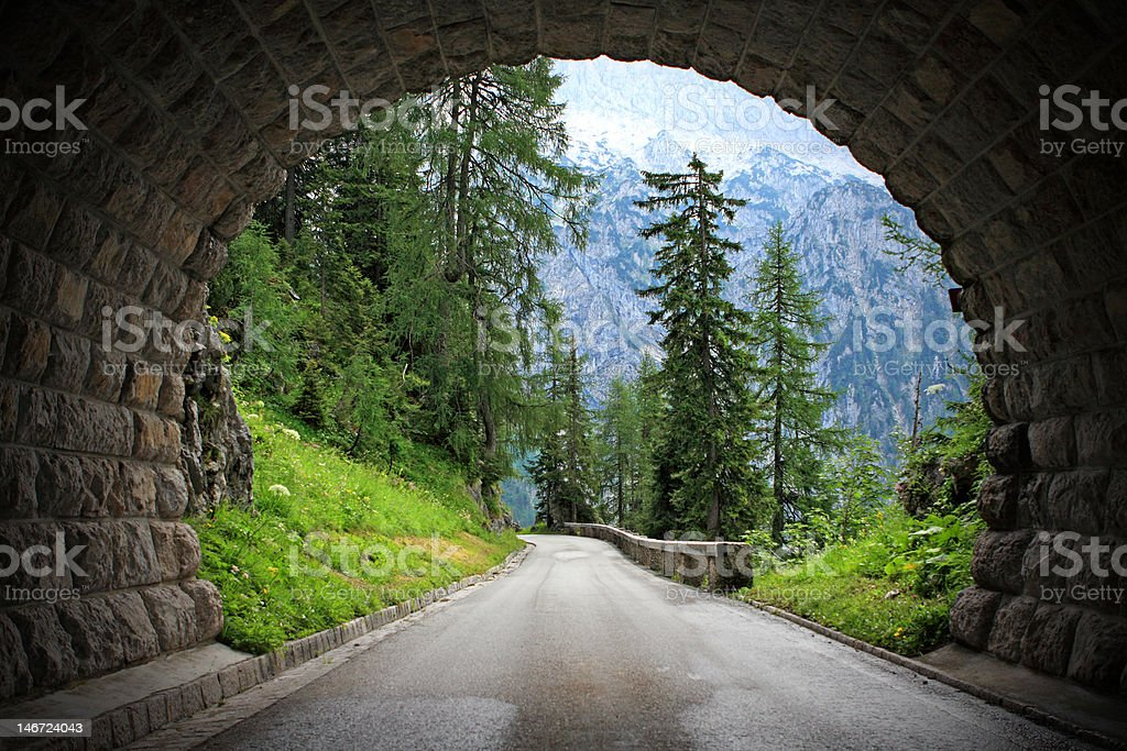 Tunnel in the alps stock photo
