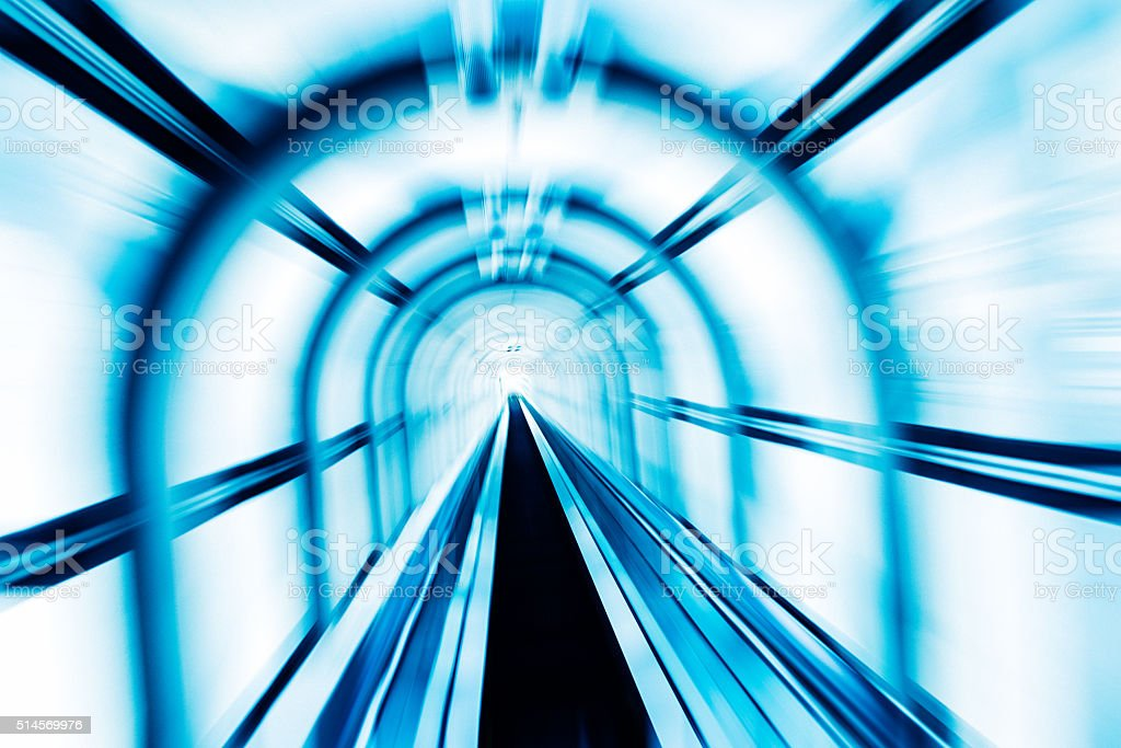 Tunnel Motion Blur Futuristic Abstract stock photo