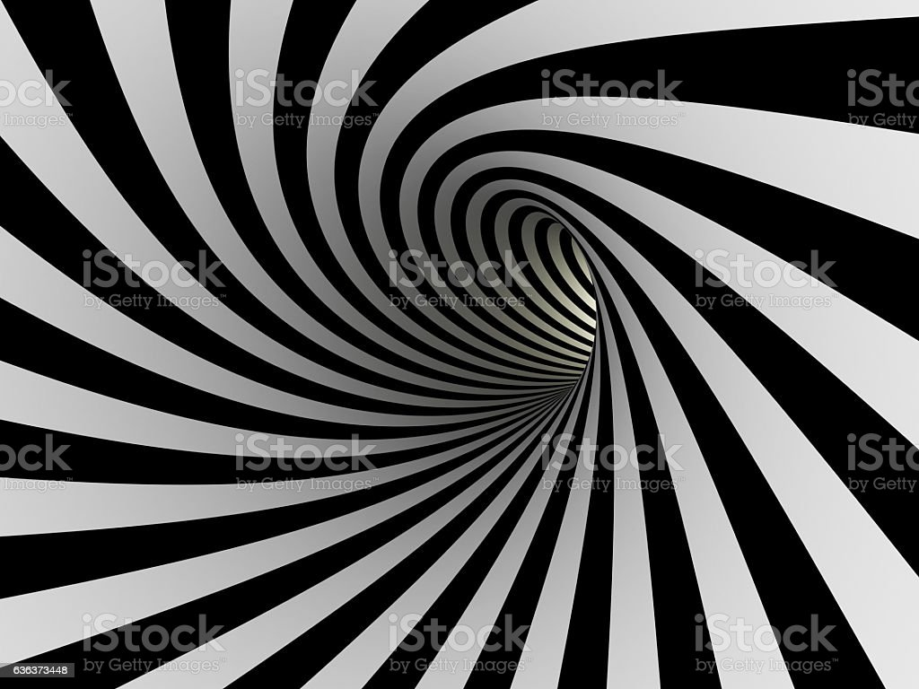Tunnel of black and white lines stock photo