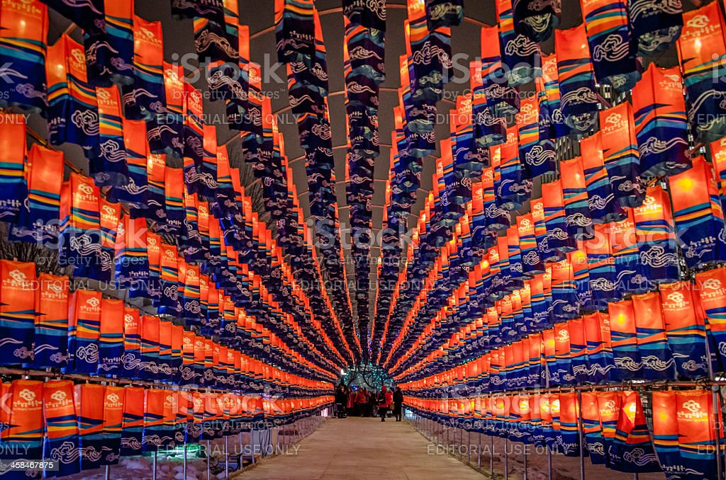 Tunnel of Korean Lanterns at the Ottawa 2013 Winterlude Festival stock photo