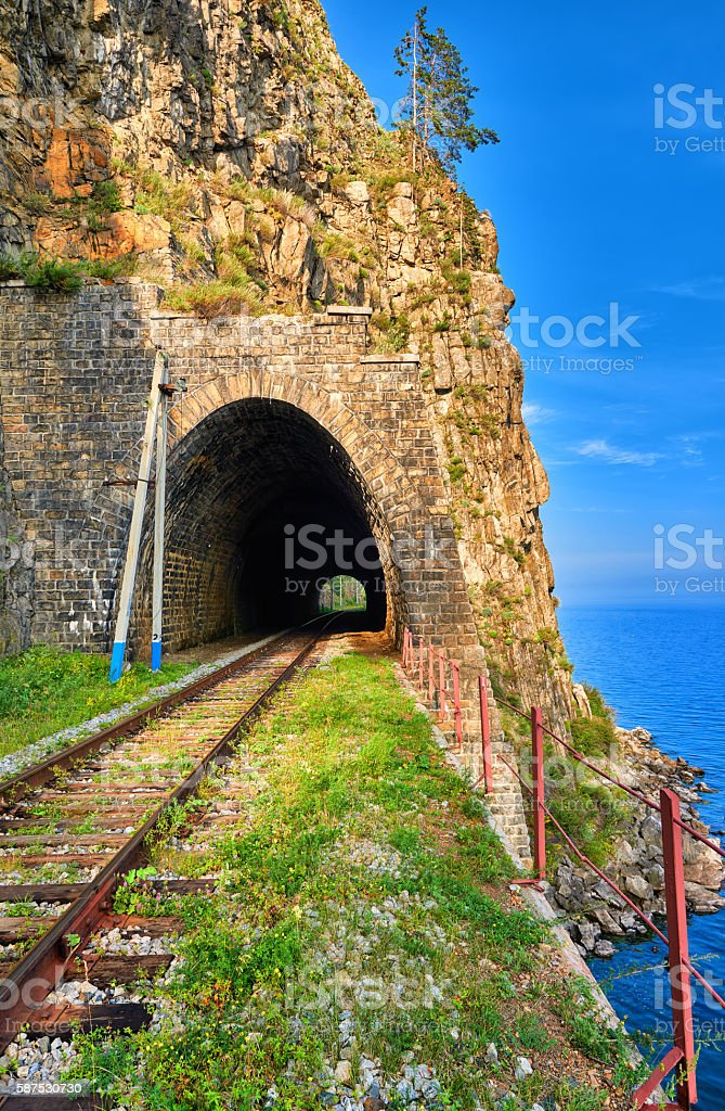 Tunnel on Circum-Baikal Railway stock photo