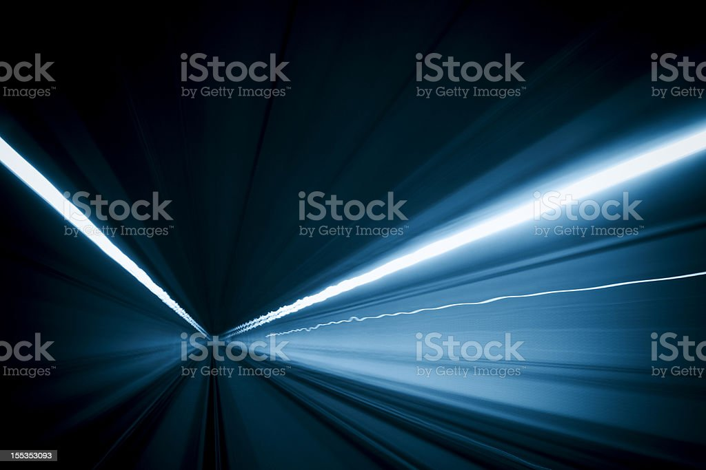 Tunnel speed motion light trails stock photo