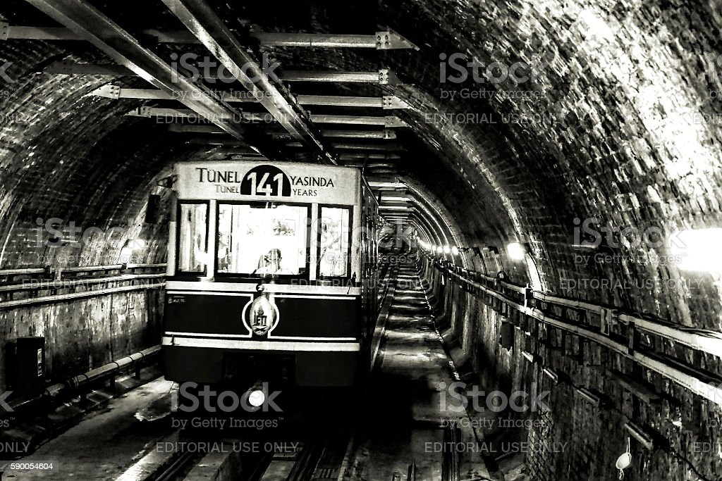 Tunnel the underground railway in Istanbul, Turkey. stock photo