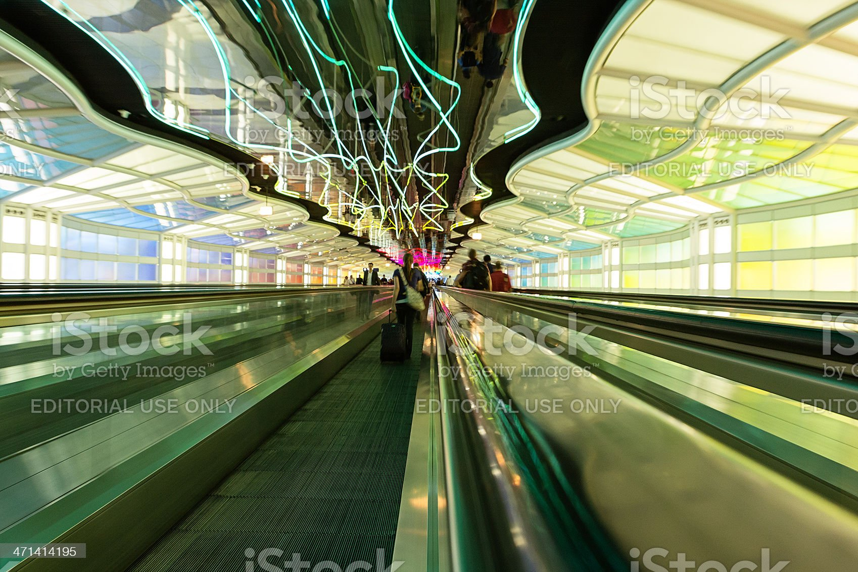 Tunnel under Chicago O'hare Airport royalty-free stock photo