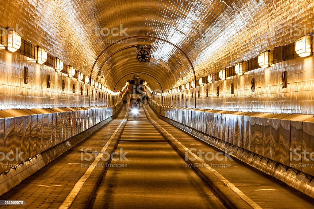 Tunnel under River Elbe in Hamburg, Germany stock photo