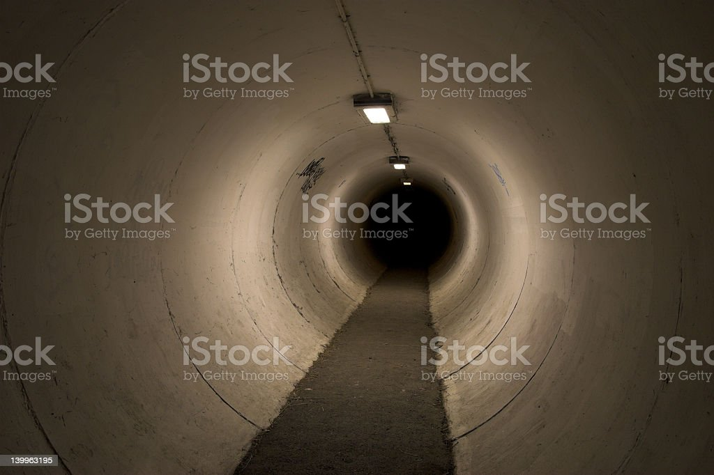 Tunnel underground with sky lights stock photo
