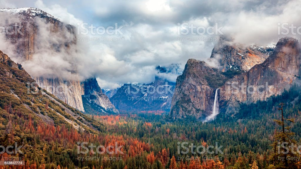 Tunnel View of Yosemite National Park, California, USA stock photo