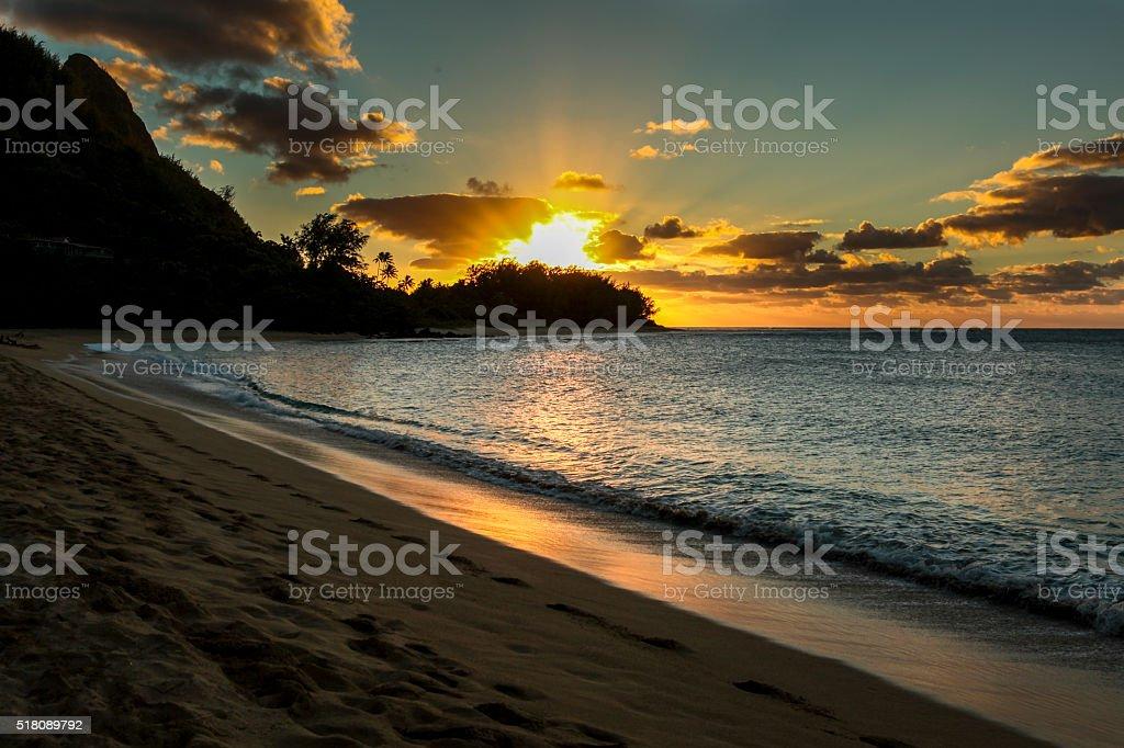 Tunnels Beach sunset Kauai stock photo