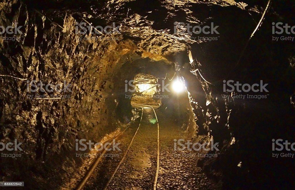 Tunnels of the abandoned mine of Ginevro, Elba Island stock photo