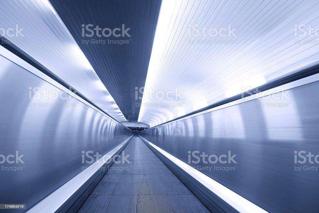tunnel-walkway-escalator royalty-free stock photo