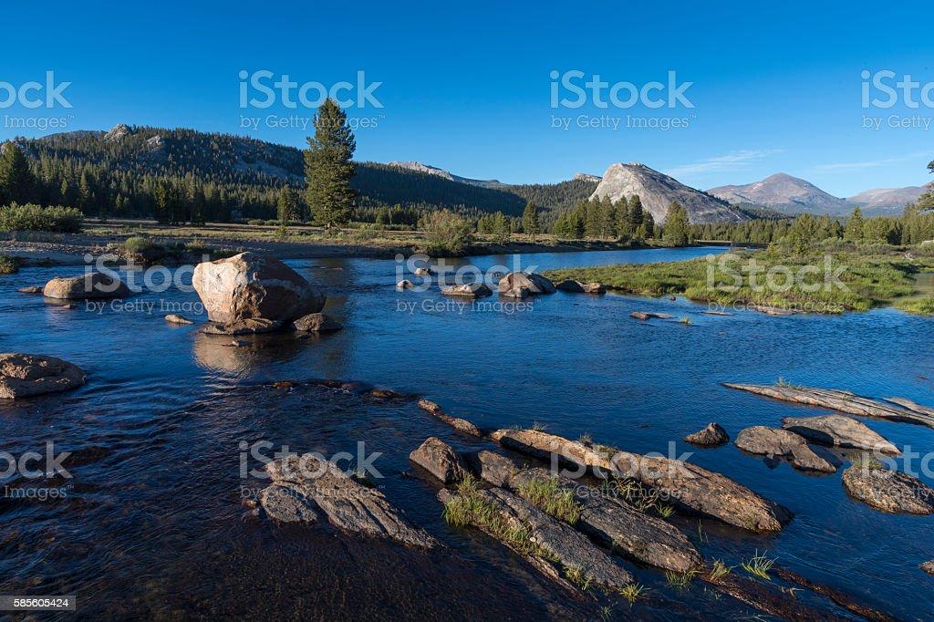 Tuolumne River and Granite Boulders stock photo