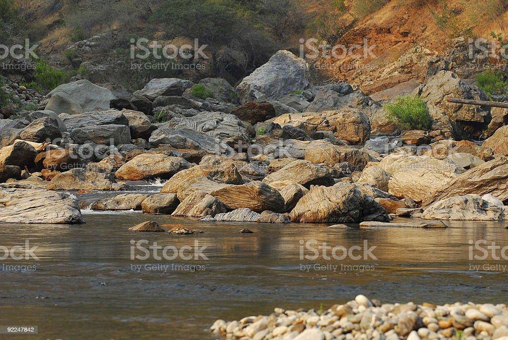 Tuolumne River Confluence at Dusk stock photo