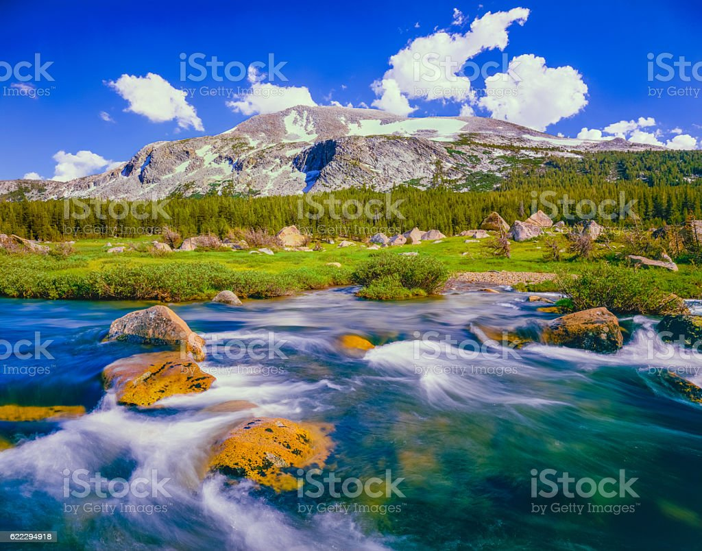 Tuolumne River near Tioga Pass, Yosemite NP CA stock photo