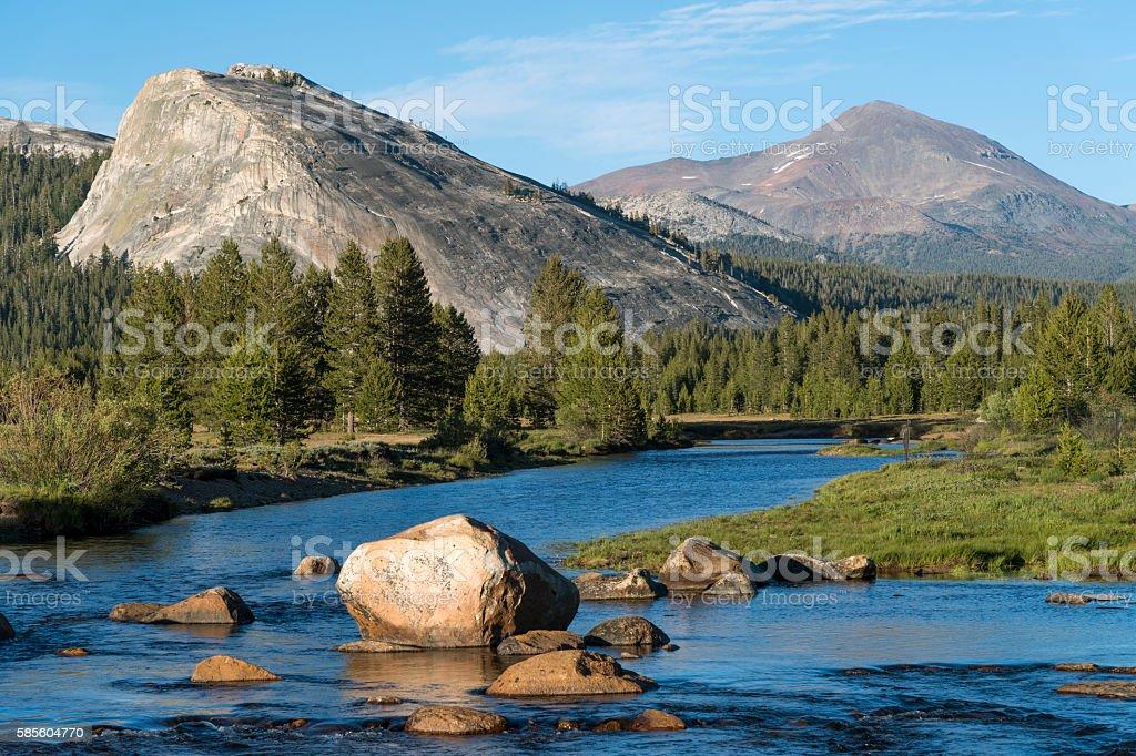 Tuolumne River with Lembert Dome and Mount Dana stock photo