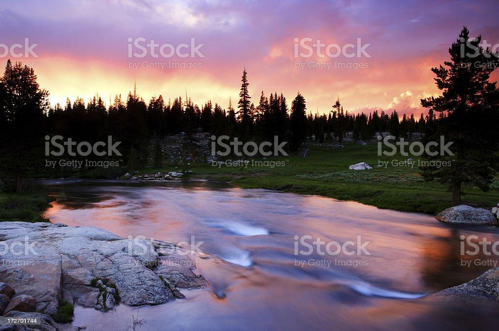 Tuolumne Sunset stock photo