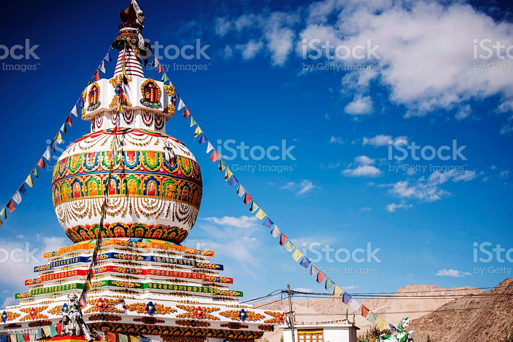 tupa in Leh city and blue sky Leh Ladakh stock photo