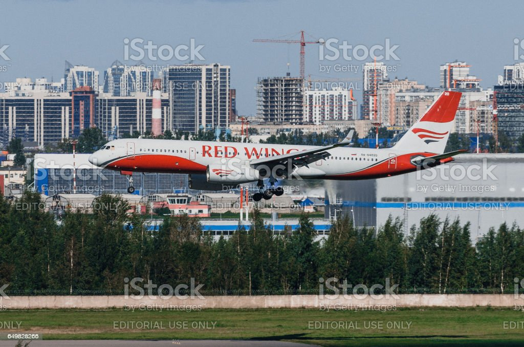 Tupolev 214 Red wings airlines, airport Pulkovo, Russia Saint-Petersburg August 2016 stock photo