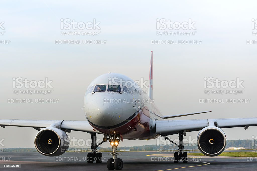Tupolev Tu-204 Red Wings taxiing at Domodedovo international airport stock photo